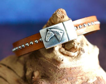 Horse Head Bracelet Brown Leather Bracelet Silver Studded Bracelet Equestrian Jewelry Horse Rider Horsewoman Horseman Jewelry Tack Under 50