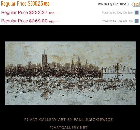 10 off one week sale new york city scape knife abstract by paul juszkiewicz 48x24 brown. Black Bedroom Furniture Sets. Home Design Ideas