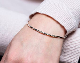 A life lived in fear bangle, inspirational bracelet for daughter, goddaughter, inspirational bangle with words - Gracie