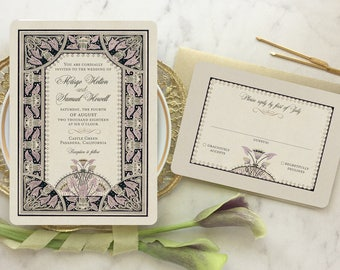 Wedding Invitations Vintage, Wedding Invitation Set, Gold Wedding Invitation, GoGoSnap, Art Nouveau Inspired - Lotus Flower Invitation
