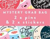 Mystery Grab Bag, Lucky Dip Bag, Mystery Box, Stickers Grab Bag, Pins Seconds Sale, Goody Bags, Grab Bags, Goodie Bag, Surprise Bag