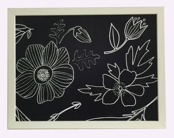 Magnet Board - Magnetic Memo Board - Dry Erase Board - Framed Bulletin Board - Office Wall Decor -Black and White Floral Design-with magnets