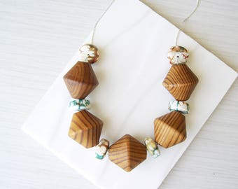 Bold Wood Necklace, 5th Anniversary Gift for Her, Teal, Stone Statement Jewelry, Mustard Yellow, Agate, Brown, Chunky, Adjustable, White