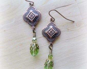 Quatrefoil Earrings - Edwardian Jewelry - Victorian Jewelry - Mourning Jewelry - Medieval Jewelry - Renaissance Jewelry - Clover Jewelry