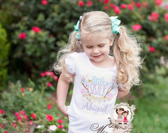 Little Sister Shirt, Personalized Baby Girl Shirt, Custom Baby Bodysuit, Girls Antlers Shirt, Siblings Outfit, Baby Girl Summer Outfit