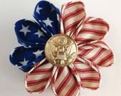 Vintage Patriotic Kanzashi Boutonniere with Customer's Army Button