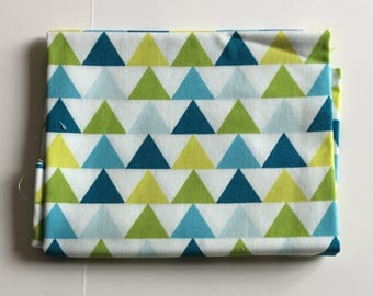 Green and Blue Triangle Fabric FAT QUARTER