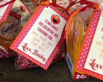Elmo themed favor tags
