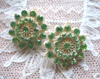 Vintage Carved Celluloid  & Rhinestone Earrings ~ Clip On ~ Creamy White w/ Green Stones