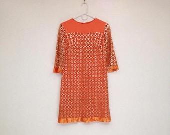 SALE Vintage 1960s Orange Mod Sparkle Lace Bell Sleeve A-Line Mini Dress