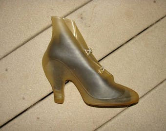 NOS 1940's Drizzle Boots Clear Rain Galosh Ladies High Heel Pump Shoe Cover Protector Size 5
