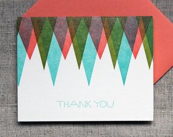 Letterpressed Geometric 'Thank You' Card