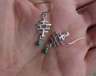 Happiness and Good Fortune - Japanese Kanji Sterling Silver Earring With Turquoise Beads
