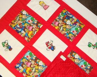 Custom Embroidered Super Mario Brothers Baby/Toddler Quilt - Choose the fabrics & images - Crib Bedding available - Payment Plan available