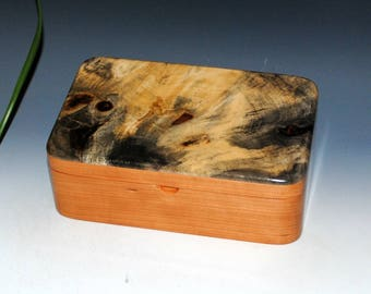 Handmade Wood Stash Box in Cherry with Awesome Buckeye Burl by BurlWoodBox - Jewelry Box, Keepsake Box, Burl Wood Box, Treasure Box