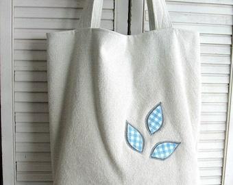 Large tote bag .. beige cotton canvas doubled, eco design, # 151