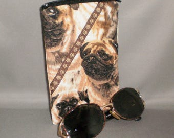 Pug - Eyeglass or Sunglasses Case - Zipper Top - Padded Zippered Pouch - iPhone - Cell Phone - Dog