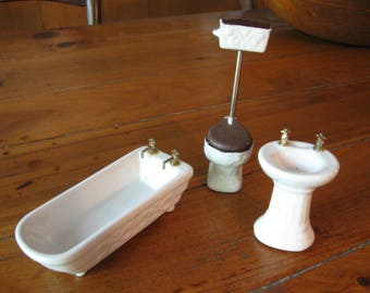 Vintage Dollhouse 3 Pc Bathtub Sink U0026 Toilet Ceramic Mint Condition  Bathroom Set Collectible Gift Old
