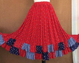 Country Western Red and Blue Paisley Tiered Skirt