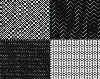 Black and White Half Yard Fabric Set - 1/2 yard set Black and White - Fabric 1/2 yard set - Black/White fabric set
