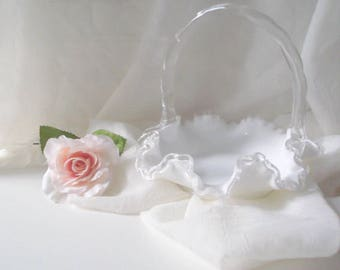 Milk Glass Basket Vintage Fenton Silver Crest Weddings