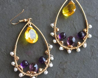 Marigolds and Violets. Amethyst, Freshwater Pearls, Yellow Citrine Quartz Gold Plated Tear Drop Hoops.