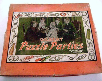 Vintage Game Rare  A.C. GILBERT PUZZLE PARTIES Playset in Original Box, metal, brin teasers,
