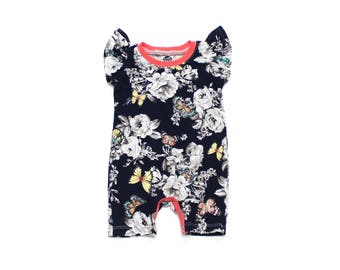Baby Girl Romper Sunsuit - Baby Girl Clothes - Baby Girl Jumper - Baby Girl Outfit - Flutter Sleeves - Floral Butterflies