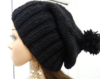 BLACK KNIT HAT, winter hat ,slouchy style, Hand knit, acrylic worsted weight yarn, Unisex ,one size fits all, 4 inch ribbing and a pompom