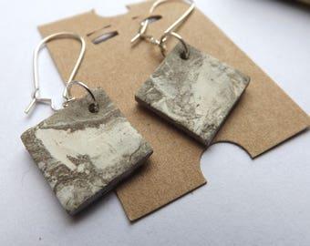 Marbled porcelain dangle earrings on kidney shaped wires, porcelain kiln fired earrings, quirky earrings, ceramic earrings, neutral  colours
