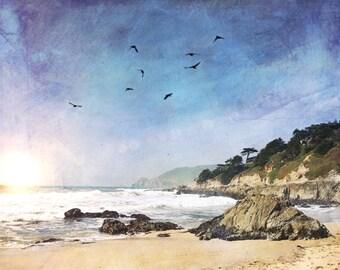 Beach House Art, Sunset, Farmhouse Art, Beach Art, Summer, Abstract art, Watercolor Beach, Farmhouse, Ocean, Beach, California, Seaside