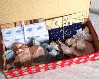 Vintage Lace & Appliqués, Vintage Dressmaker, 132 pc Pink Blue Appliqués in Vintage Fabric Box, Dolls Vintage Wedding Something Old and Blue