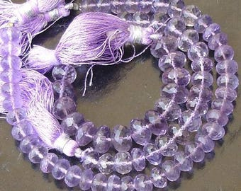 8mm, AAA Finest Quality Lavendar PINK AMETHYST Micro Faceted Roundells,Full 8 Inch Long Strand,