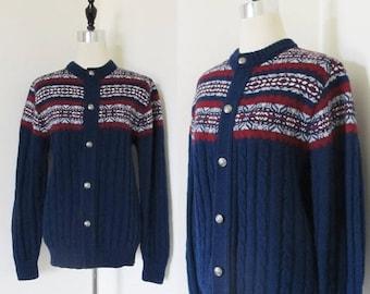 40% OFF SALE Vintage Navy Blue JANTZEN Sweater / Unisex Warm Winter Fair Isle Ski Cardigan Sweater Size Large