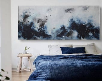 Large Abstract seascape painting watercolor horizontal blue grey white minimalist 'spiritual blue' modern art wall decor