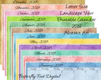 2018 Printable Calendar Landscape, Month Calendar, Abstract Art, Instant Download, Letter Size