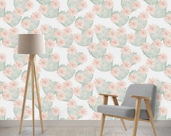 Removable Wallpaper - Cactus, Southwest, Aztec, Cactus Heart Flower, Woven Nursery Wallpaper, Peel and Stick Wallpaper with Ocean Waves