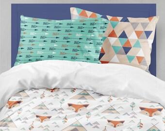 twin bedding boy fox teepee toddler bedding boy twin or toddler tribal comforter
