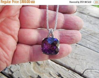 ON SALE Gorgeous deep purple amethyst  necklace handmade in sterling silver with a beautiful cushion cut amethyst
