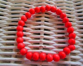 357  Coral wood 6mm beaded handmade bracelet-womens coral wood bracelet-mens coral wood bracelet-