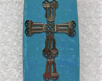 Blue Altered Fan Blade Faith Sign, Repurposed Distressed Wood Sign, Natural Jute Wall Art, Recycled Keys Wall Hanging, Upcycled Sign