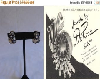 WW2 ENDS SALE Meet You at The Brown Derby - Vintage 1940s R. DeRosa Blue Rhinestone Gold Tone Clip On Earrings