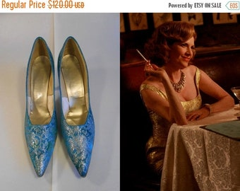 Anniversary Sale 35% Off Bobby Barratte for Cocktails  - Vintage 1960s Turquoise Silver Tapestry Pointed Heels Stilettos - 9