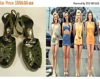 Anniversary Sale 35% Off Beauty Pagent '42 - Vintage 1940s WW2 Green Reptile Snake Skin Leather Platform Ankle Strap Heels Pumps - 9/9.5