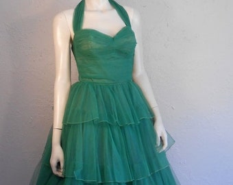 Anniversary Sale 35% Off Heading Off To Monaco This Summer - Vintage 1950s Kelly Green Tulle Tiered Halter Evening Formal Gown - XS