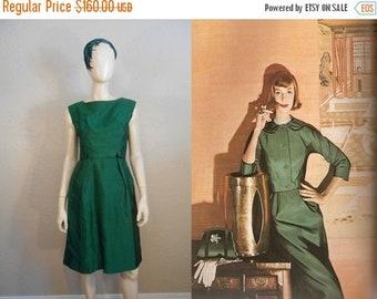 Anniversary Sale 35% Off Calling Park Avenue 6845 - Vintage 1960s Green Silk Shantung Sheath Wiggle Dress w/Inverted Back Skirt - 4/6