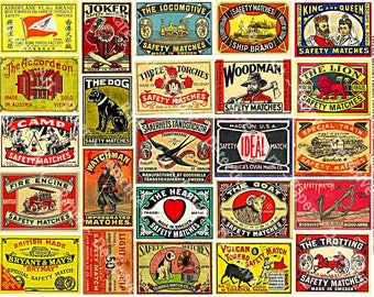 Safety Matchbox Art - Digital Collage Tags, Matchbook Clip Art, Match Box Covers, Matchbook Cover Art, Wood Match Box, Matchbook Label, 285b