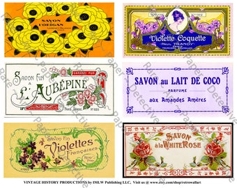 French Savon Bath Soap, Printed Sheet, 6 Antique French Soap Labels, Vintage Floral French Label, Elegant Victorian Collage Clip Art, 519