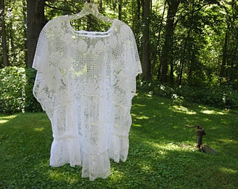 One size fits most oversize upcycled cream lace top 3X plus size loose fit clothing artsy eco boho top by Lily Whitepad
