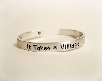 Personalized, Hand Stamped Bracelet, Teacher Bracelet, Babysitter, Caretaker, Daycare, It Takes a Village, My Village, My People, Custom